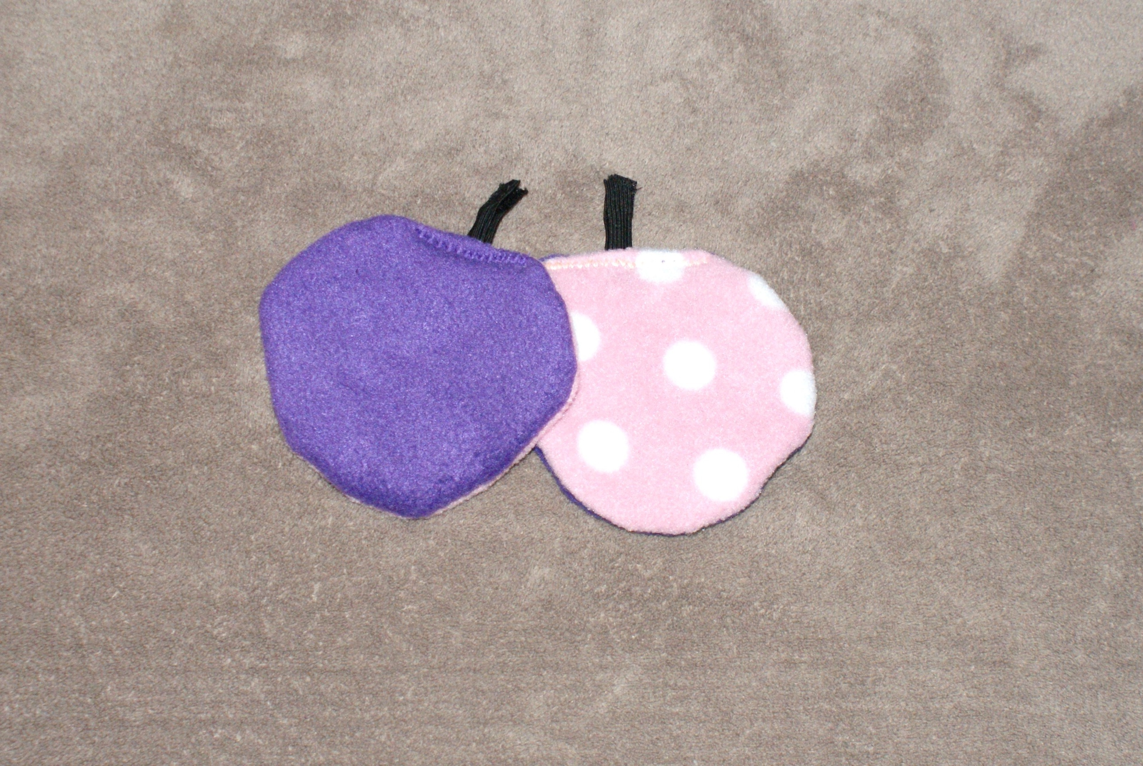 86c5bf94173 Adult Clip on Hat Ear Warmers Purple   Baby Pink with White Dots.